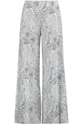 Etro Printed Cotton Silk And Linen Blend Wide Leg Pants Blue