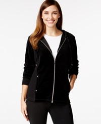 Style And Co. Sport Mixed Media Zip Up Track Jacket Only At Macy's Deep Black