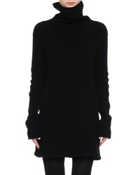 Valentino Belted Ribbed Knit Turtleneck Sweater Black
