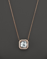 Bloomingdale's Aquamarine And Diamond Pendant Necklace In 14K Rose Gold 17 Blue Pink