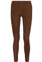 Donna Karan Paneled Suede And Cotton Blend Leggings Brown