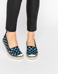 Love Moschino Checkerboard Woven Espadrille Flat Shoes Black And Blue