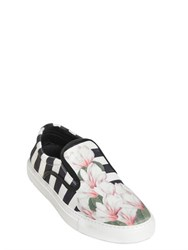 Mother Of Pearl Stripe And Floral Satin Slip On Sneakers
