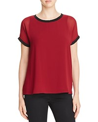 Design History Rib Trim Georgette Tee Burgundy