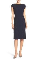 Maggy London Women's Lace Detail Crepe Sheath Dress Dark Navy