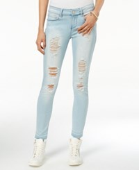Indigo Rein Juniors' Ripped Frayed Hem Skinny Jeans Light Blue