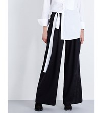 A.F.Vandevorst Party Wide Leg Brushed Wool Trousers Black