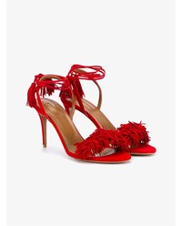 Aquazzura Suede Wild Thing Heeled Sandals Red White