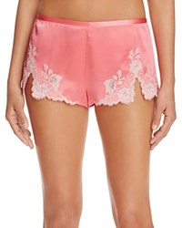 Josie Natori Lace Trim Silk Shorts Pink Rose Rose Beige Lace