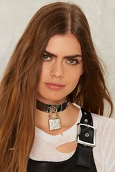 Under Lock And Key Collar Necklace Silver