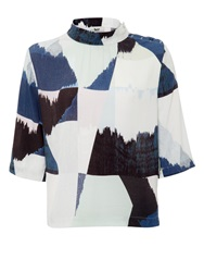 Bzr Kerry Abstract Print Top Blue