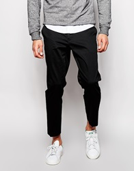 Asos Skinny Fit Smart Cropped Trousers In Cotton Sateen Black