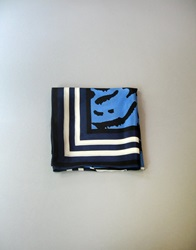 Vintage Anne Klein Silk Scarf Black White Blue Lions By Luola