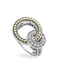 Lagos 18K Gold And Sterling Silver Enso Double Circle Ring With Diamonds Silver Gold