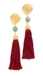Ben Amun Jade Tassel Earrings Gold Multi