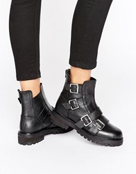 Park Lane Chunky Buckle Flat Boot Black Leather