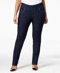 Jag Plus Size Malia Pull On Slim Leg Jeans Dark Indigo