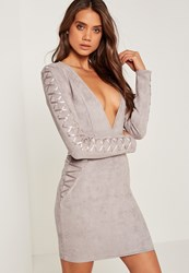 Missguided Faux Suede Long Sleeve Bodycon Dress Grey Grey