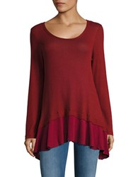 Design Lab Lord And Taylor Asymmetrical Thermal Knit Top Burgundy