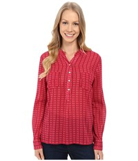 Carve Designs Dylan Gauze Shirt Strawberry Alpine Women's Long Sleeve Button Up Red
