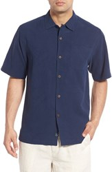 Tommy Bahama Men's Big And Tall 'Rio Fronds' Short Sleeve Silk Sport Shirt Navy