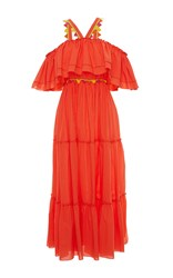Blugirl Off The Shoulder Halter Ruffle Maxi Dress Orange