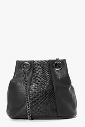 Boohoo Faux Snake Panel Chain Strap Duffle Bag Black