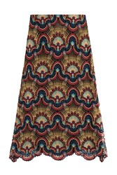 Valentino Embroidered Skirt With Metallic Thread Multicolor