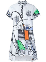 Novis Graphic Print Dress White