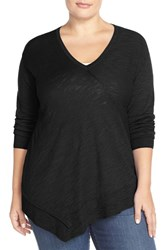 Sejour Plus Size Women's Long Sleeve Faux Wrap Front Pullover Black