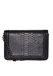 Hallhuber Shoulder Bag With Snake Imprint Black