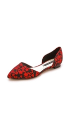 Alice Olivia Hilary Grosgrain Flats Graphic Floral Red