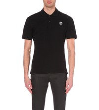 Alexander Mcqueen Embroidered Skull Polo Shirt Black