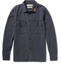 Remi Relief Embellished Cotton Shirt Blue