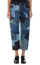 Comme Des Garcons Junya Watanabe Women's Patchwork Cotton Relaxed Fit Jeans Blue