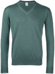 Eleventy V Neck Trim Jumper Green