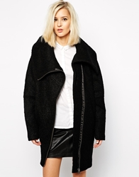Just Female Textured Coat With Oversized Collar Black