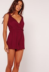 Missguided Wrap Front Jersey Teddy Burgundy Burgundy