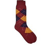 Barneys New York Men's Argyle Wool Blend Mid Calf Socks Burgundy