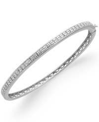 Victoria Townsend Rose Cut Diamond Bangle Bracelet In 18K Gold Plated Brass Or Sterling Silver Plated Brass 1 2 Ct. T.W.