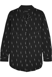 Kate Moss For Equipment Slim Signature Printed Washed Silk Shirt Black