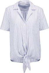 Equipment Keira Knotted Striped Cotton Top White