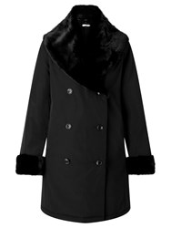 John Lewis Faux Fur Trimmed Double Breasted Mac Black