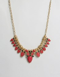 Paper Dolls Petal Statement Necklace Red