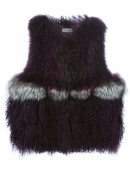 Yves Salomon Panelled Vest Pink And Purple