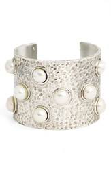 Women's Karine Sultan Hammered Faux Pearl Cuff Silver