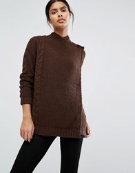 Vila Wrap Over Cable Knit Jumper Chocolate Brown