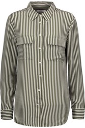 Equipment Striped Washed Silk Shirt Army Green