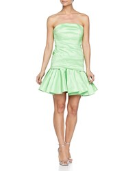 Halston Heritage Strapless Taffeta Dress Summer Green