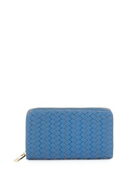 Neiman Marcus Woven Faux Leather Continental Wallet Denim Blue